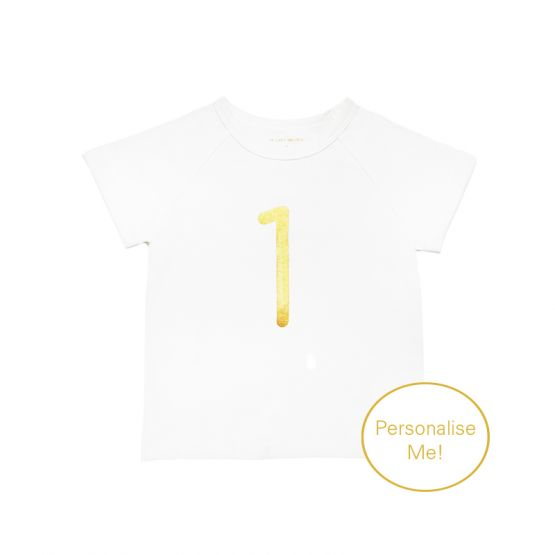 Personalisable Number 1 Tee in White/Gold