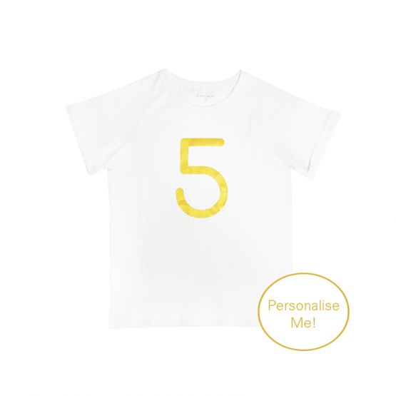Personalisable Number 5 Tee in White/Gold