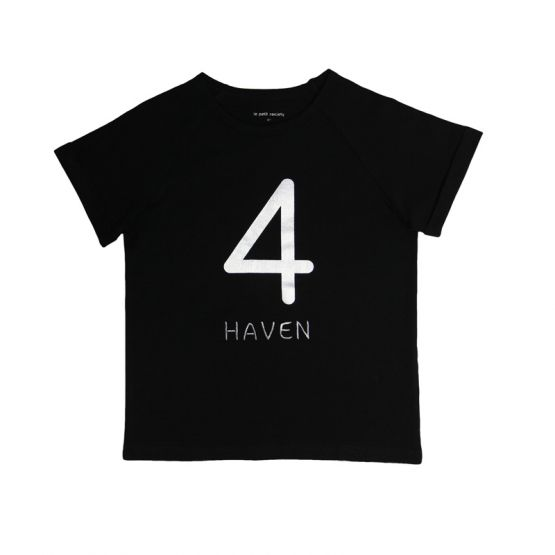 Personalisable Number 4 Tee in Black/Silver