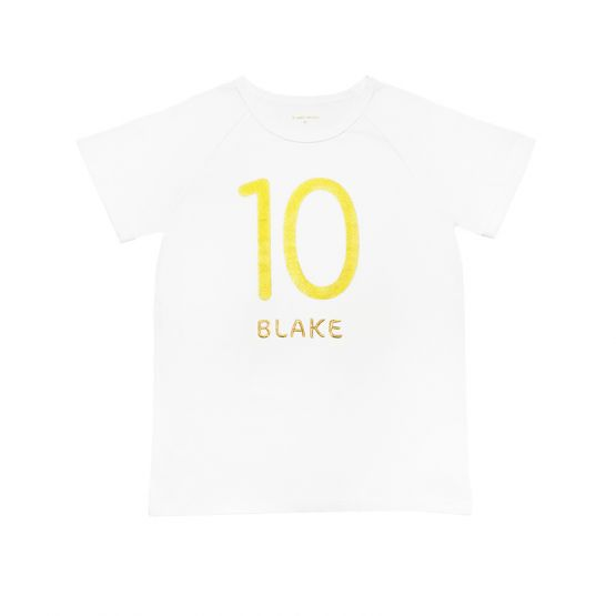 Personalisable Number 10 Tee in White/Gold