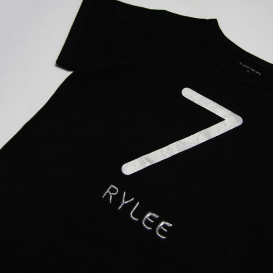 Personalisable Number 7 Tee in Black/Silver