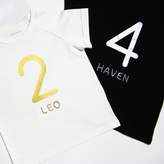Personalisable Number 4 Tee in White/Gold