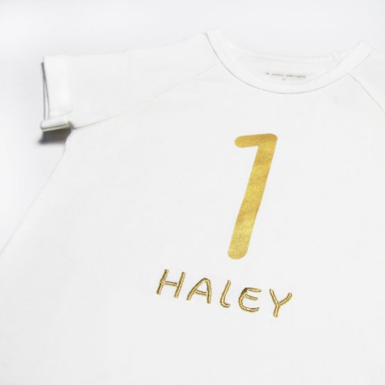 Personalisable Number 8 Tee in White/Gold