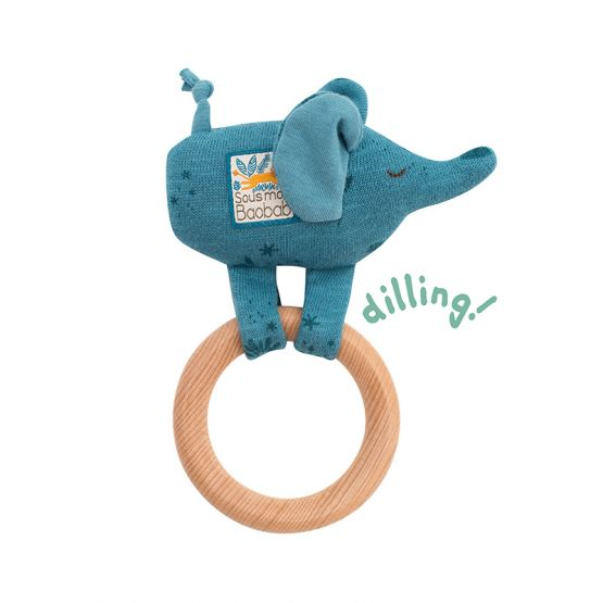 Sous Mon Baobab - Bergamote Elephant Wooden Ring Rattle by Moulin Roty