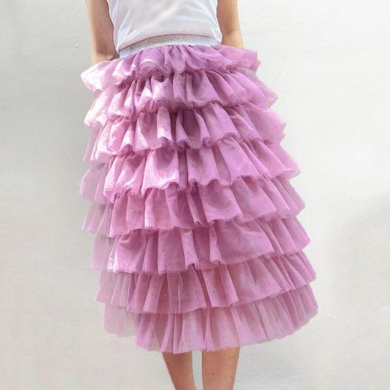 Ladies Knee-Length Tulle Skirt in Dark Magenta