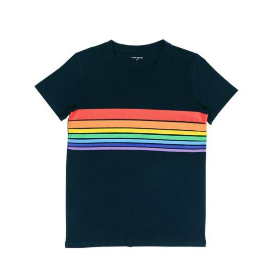 Personalisable Adult Rainbow Tee in Dark Navy (Unisex)