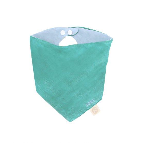 Personalisable Reversible Baby Bandana Bib in Teal & Baby Blue