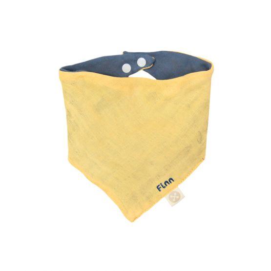 Personalisable Reversible Baby Bandana Bib in Mustard & Navy