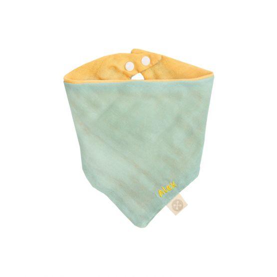 Personalisable Reversible Baby Bandana Bib in Seafoam & Mustard