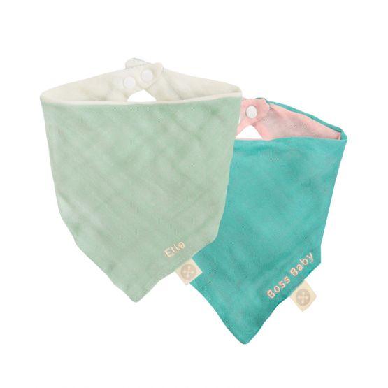 Set of 2 Reversible Baby Bandana Bib in Seafoam/Cream & Teal/Baby Pink