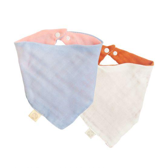 Set of 2 Reversible Baby Bandana Bib in Baby Pink/Baby Blue & Caramel/Cream