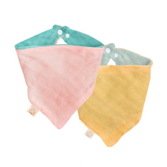 Set of 2 Reversible Baby Bandana Bib in Teal/Baby Pink & Seafoam/Mustard