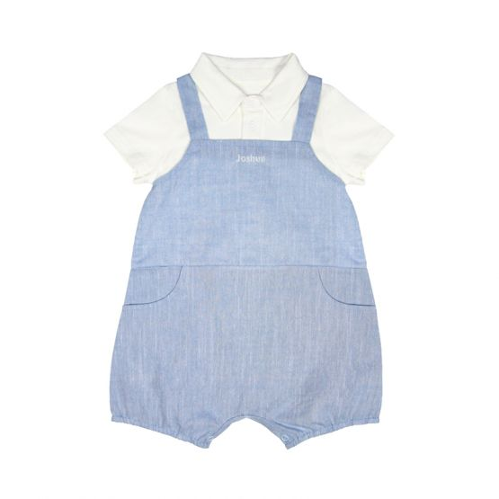 *New* Personalisable Baby Boy Overalls in Chambray