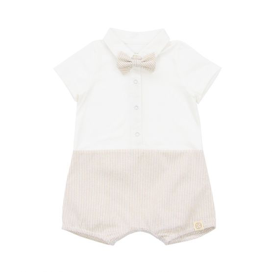 Personalisable Baby Boy Bow Tie Romper in Beige Stripes