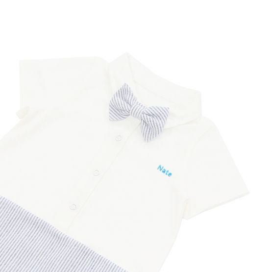 Personalisable Baby Boy Bow Tie Romper in Blue Stripes