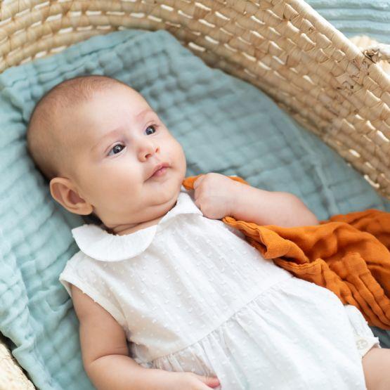 *New* Resort Series - Baby Girl Romper in White Swiss Dot Cotton