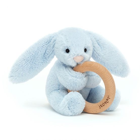 Bashful Blue Bunny Wooden Ring Toy by Jellycat