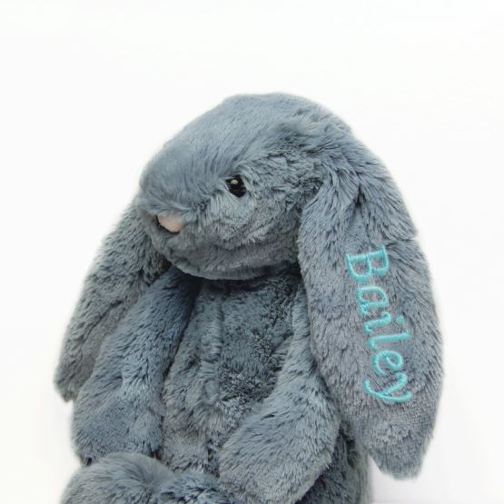 Personalisable Bashful Dusky Blue Bunny by Jellycat