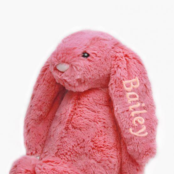Personalisable Bashful Cerise Bunny by Jellycat