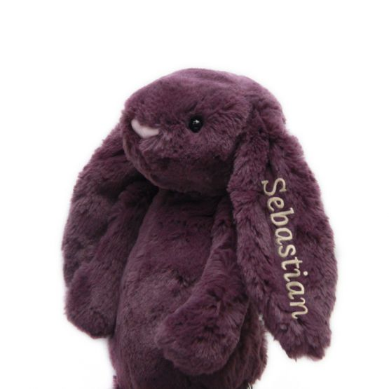Personalisable Bashful Plum Bunny by Jellycat