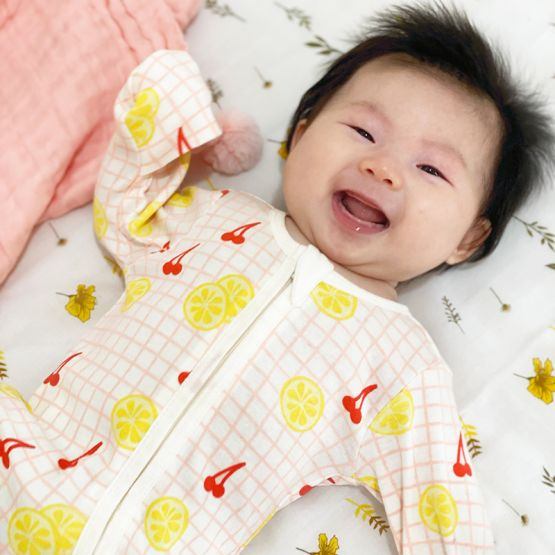 *New* Personalisable Baby Organic Zip Sleepsuit in Lemon & Cherry Print