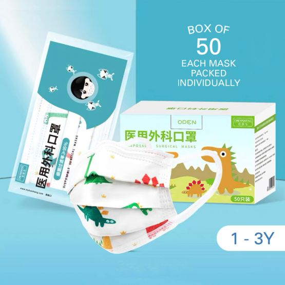 Kids Surgical 3-Ply Face Mask (1-3Y) - Dinosaur