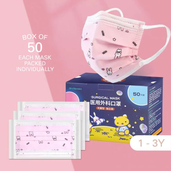Kids Surgical 3-Ply Face Mask (1-3Y) - Rabbit