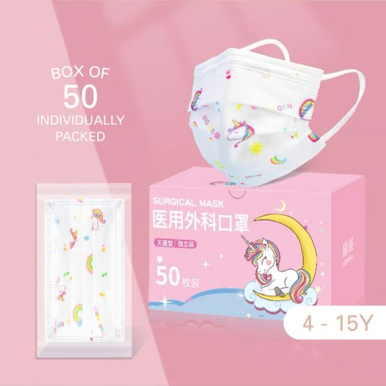 Kids Surgical 3-Ply Face Mask (4-15Y) - Unicorn