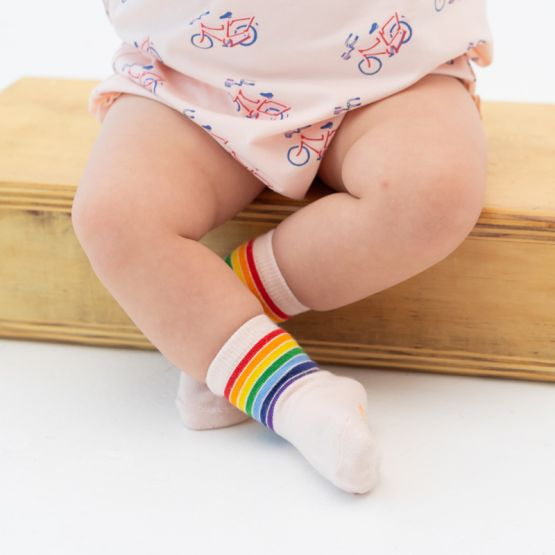 *New* Made For Play - Kids Rainbow Crew Socks in Pink