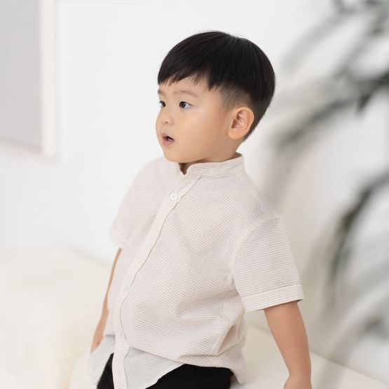 *New* Personalisable Boys Shirt in Beige Stripes