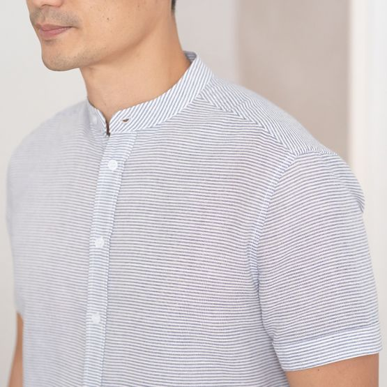 *New* Personalisable Men's Shirt in Blue Stripes