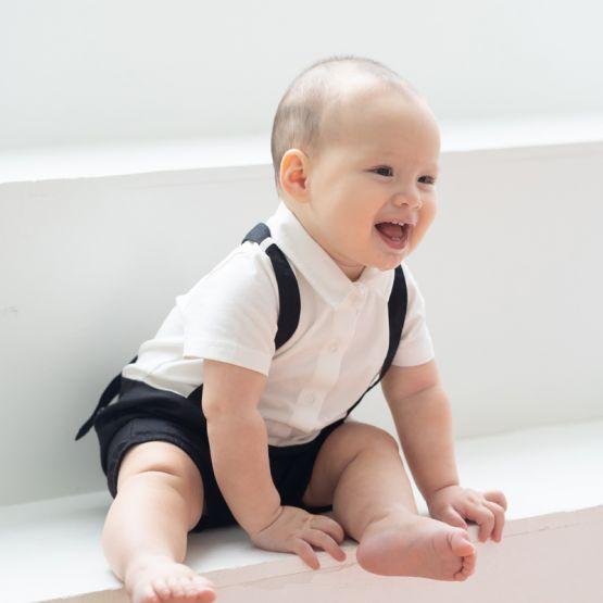 Personalisable Baby Boy Suspender Romper in Black