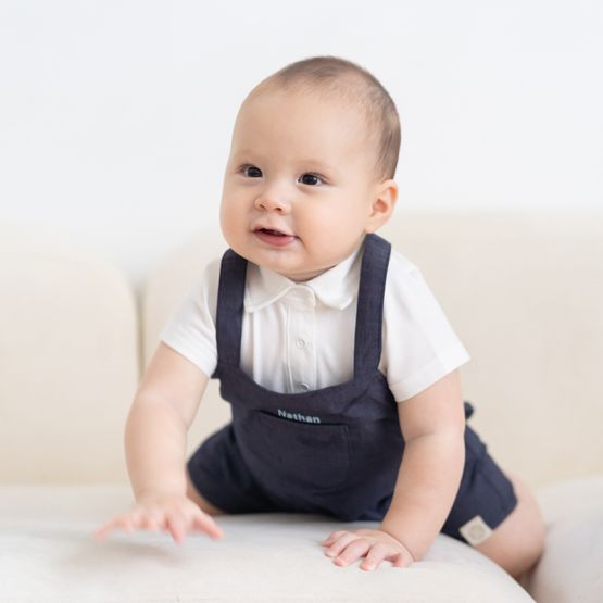 Personalisable Baby Boy Overalls in Navy