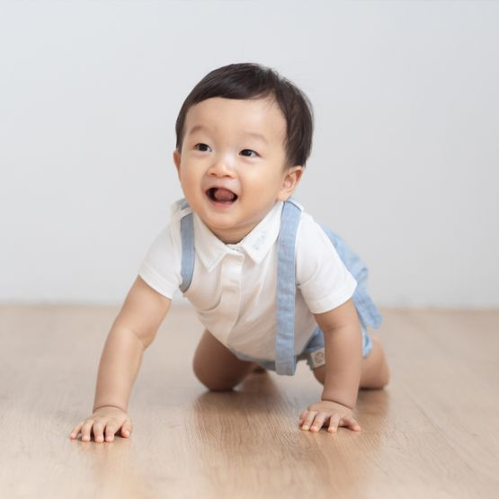 Personalisable Baby Boy Suspender Romper in Chambray