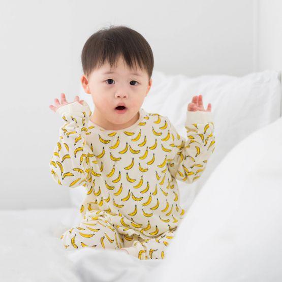 *New* Personalisable Kids Long Sleeve Organic Pyjamas Set in Banana Print