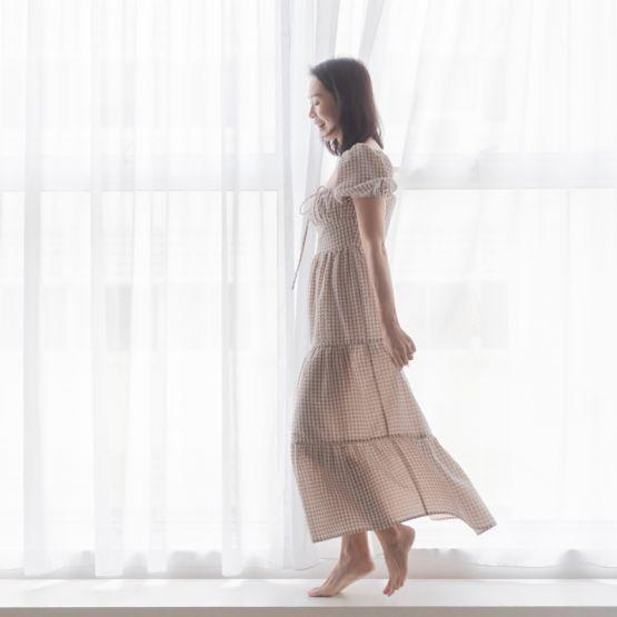 *New* Resort Series - Ladies Puff Sleeve Maxi Dress in Brown Gingham