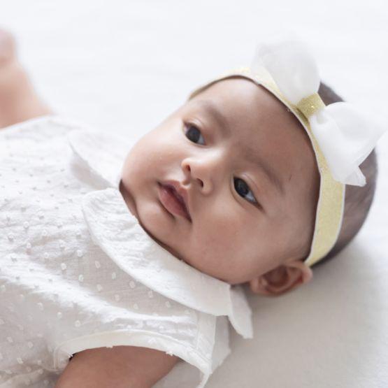 *Preorder* Baby Girl Romper in White Swiss Dot Cotton