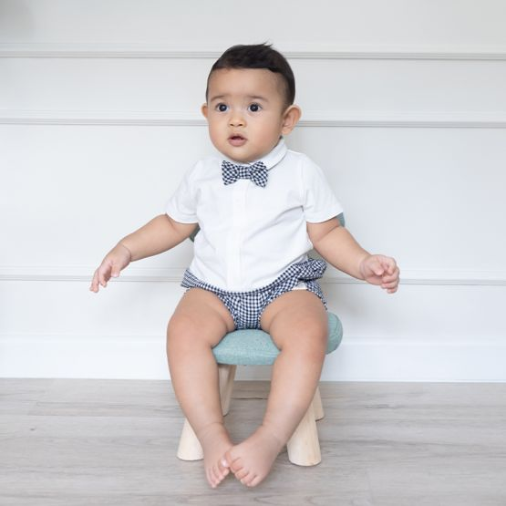 Personalisable Baby Boy Bow Tie Romper in Black Gingham