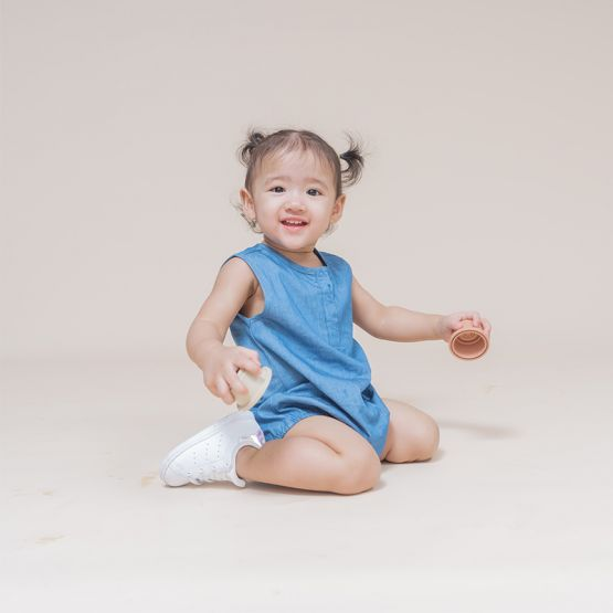 Baby Bubble Romper in Chambray
