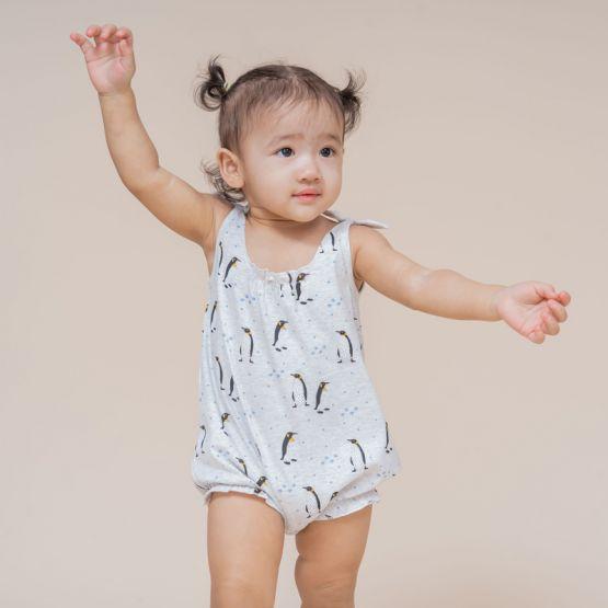 Baby Girl Romper in Penguin Print