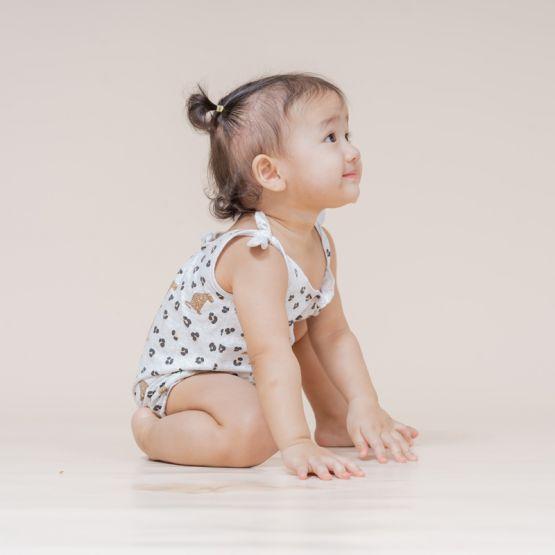 Baby Girl Romper in Leopard Print