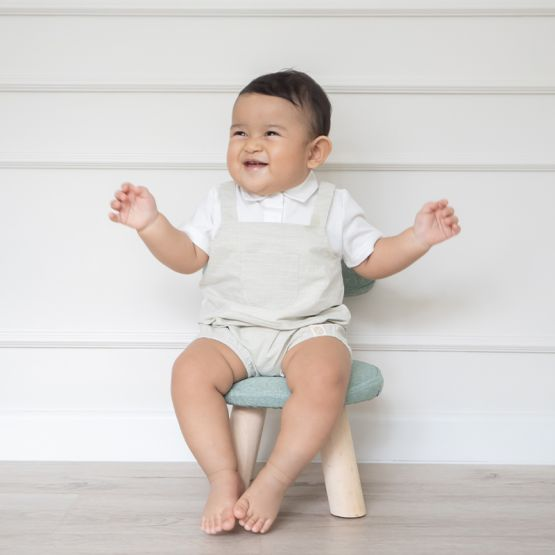 Personalisable Baby Boy Overalls in Sage