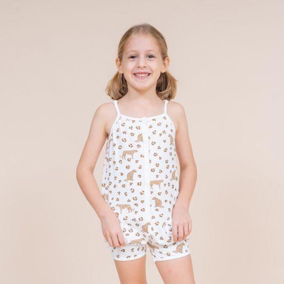 Girls Safari Jumpsuit in Leopard Print