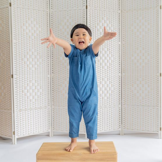 Kids Chambray Utility Jumpsuit