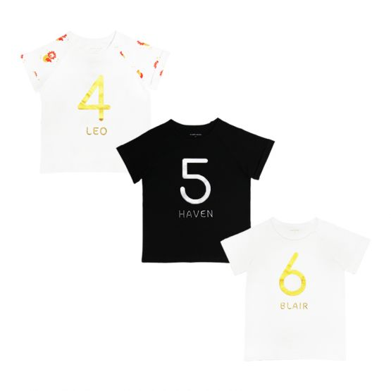 Personalisable Number 6 Tee in White/Gold