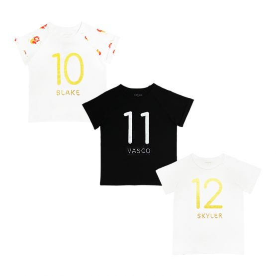 Personalisable Number 12 Tee in White/Gold