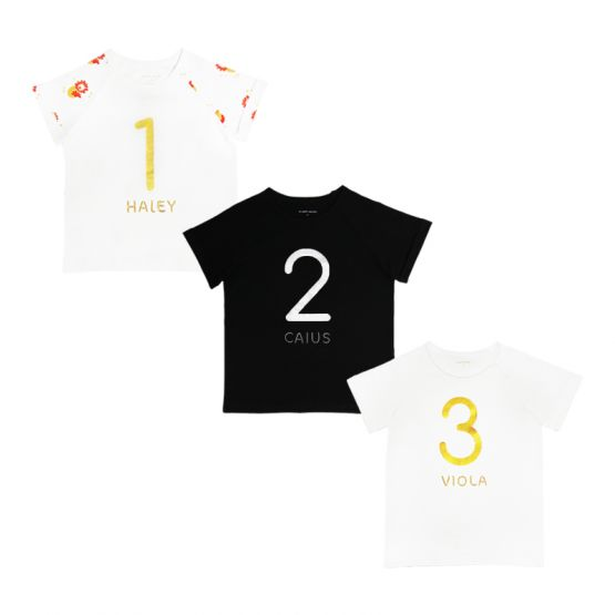 Personalisable Number 3 Tee in White/Gold