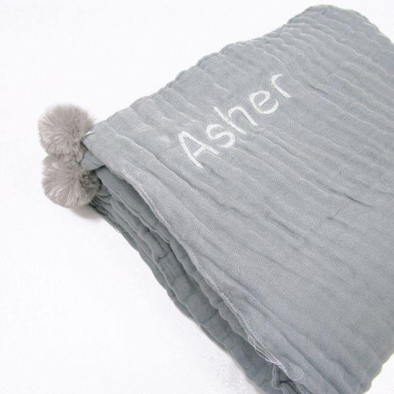 *Bestseller* Personalisable Keepsake Kids/Adult Single Blanket in Grey
