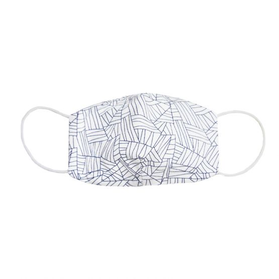 Personalisable Reusable Kids & Adult Mask in Maze Print (White)