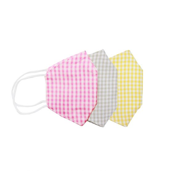 *Special* Set Of 3 Personalisable Reusable Kids & Adult Masks in Pink, Beige & Yellow Gingham